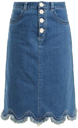 See by Chloe Scalloped-hem denim midi skirt