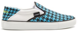 Vetements Houndstooth Print Slip On Trainers - Womens - Blue