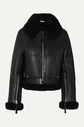 Acne Studios Raf Leather-trimmed Shearling Jacket - Black