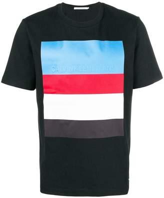 Calvin Klein Jeans stripe embossed logo T-shirt