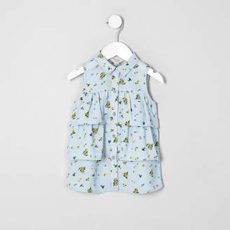 River Island Mini girls Blue floral sleeveless shirt