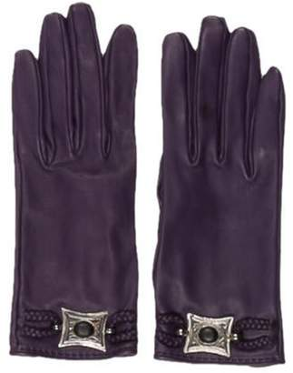 Hermà ̈s Medallion Leather Gloves silver Hermà ̈s Medallion Leather Gloves