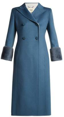 Fendi - Double Breasted Wool Coat - Womens - Blue