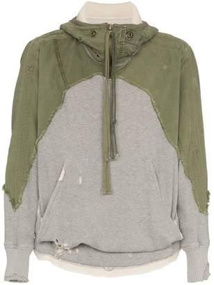 Greg Lauren denim front distressed cotton hoodie