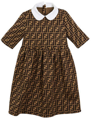 Fendi FF Jacquard Peter Pan-Collar Dress, Size 6-8
