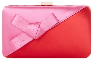 Dune Berklay Bow Colour Block Clutch Bag, Red
