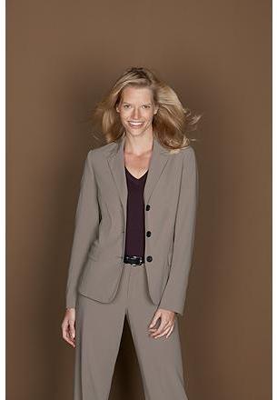 Three-Button Classic Gabardine Suiting Blazer