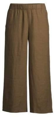Eileen Fisher Organic Linen Wide-Leg Cropped Pants