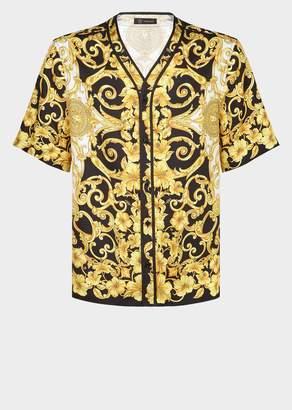 Versace Gold Hibiscus Print Silk Shirt