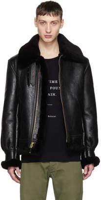 Schott Black Shearling B-3 Jacket