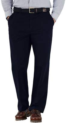 Charles Tyrwhitt Navy Classic Fit Flat Front Washed Cotton Chino Pants Size W34 L30
