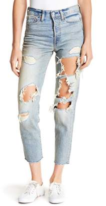 Levi's Wedgie Icon Fit Distressed & Frayed Jeans