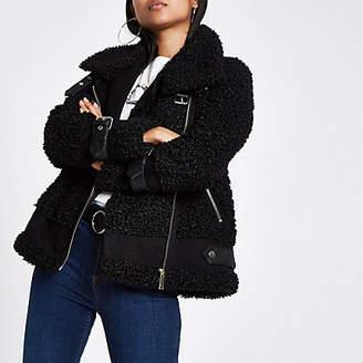 River Island Petite black fleece aviator jacket
