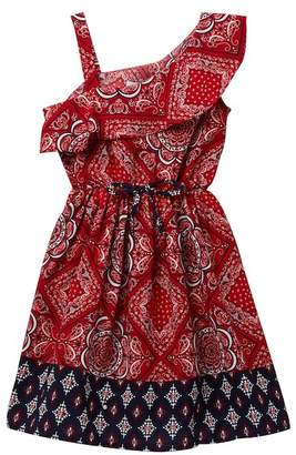 Blush by Us Angels One-Shoulder Bandana Print Dress (Little Girls)