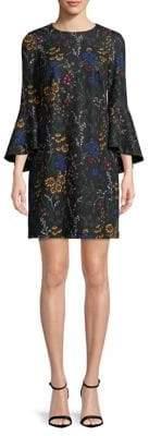 Calvin Klein Dramatic Bell Sleeve Ditsy Floral Print Sheath Dress