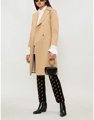Sandro Double-breasted lace-up detail cotton-twill trench coat