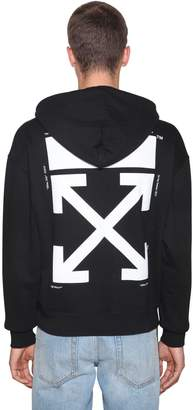 Off-White Off White Printed Kiss Cotton Jersey Hoodie