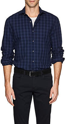 Barneys New York Men's Cotton Seersucker Shirt - Navy