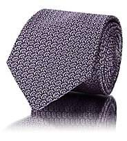Barneys New York Men's Abstract-Geometric Silk Jacquard Necktie - Purple