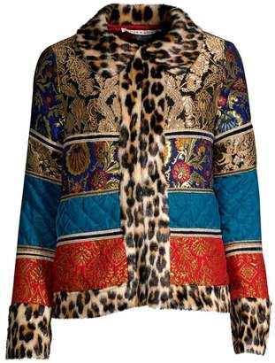 Alice + Olivia Glennie Leopard-Trim Faux Fur Patchwork Jacket