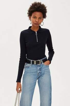 Topshop Petite Long Sleeve Zip Polo