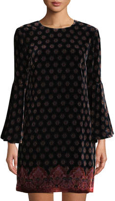 Trina Turk Astral Bell-Sleeve Velvet Dress