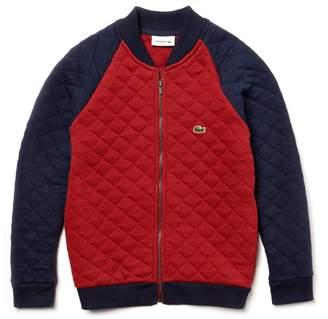 Lacoste Boys' Teddy Neck Colorblock Quilted Cotton Sweatshirt