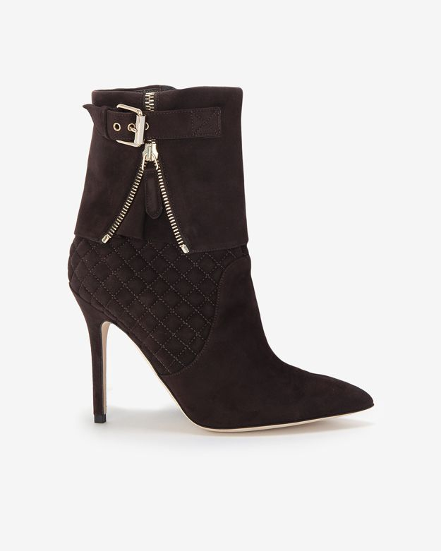 Brian Atwood Quilted Suede Foldover Bootie: Brown