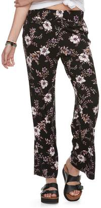 Juniors' Pink Rose Flared Soft Pants