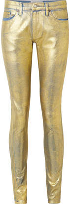 TRE by Natalie Ratabesi - The Gold Edith Metallic Coated Mid-rise Skinny Jeans