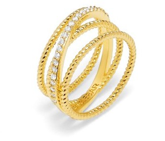 Women's Baublebar Carly Crystal Crossover Ring