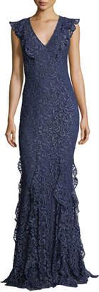 Zac Posen Josephine V-Neck Ruffled Lace Evening Gown