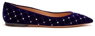Valentino Rockstud Spike Velvet Point Toe Flats - Womens - Navy