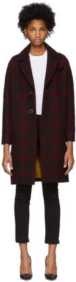 DSQUARED2 Red and Black Check Bogart Coat