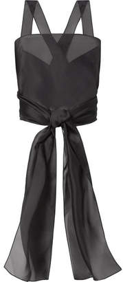 The Row Wei Cropped Silk-organza Top - Black