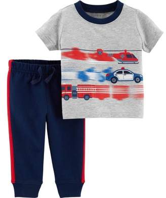 Carter's Child of Mine by Short Sleeve T-Shirt & Jogger Pants, 2-Piece Outfit Set (Toddler Boys)