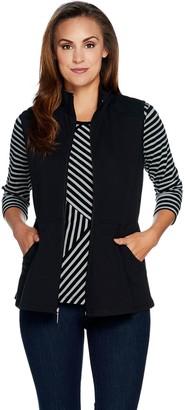 Denim & Co. Active Striped 3/4 Sleeve Top w/ Zip Front Peplum Vest Set