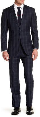 English Laundry Navy Plaid Two Button Peak Lapel Trim Fit Suit $395 thestylecure.com