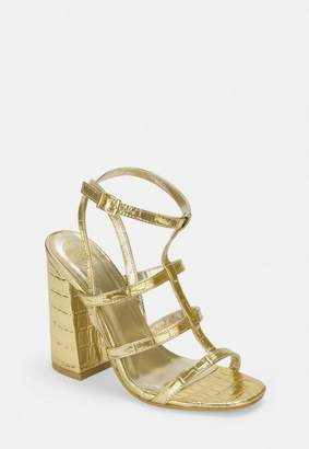 Missguided Gold Croc Texture Gladiator Flared Heels