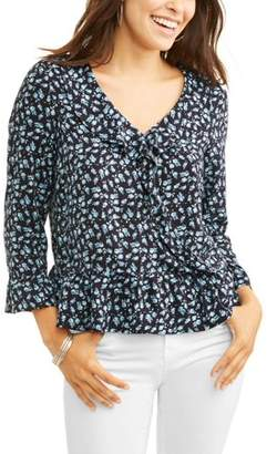 ALISON ANDREWS Alison Andrews Women's Ruffle Deep V-Neck Printed Top