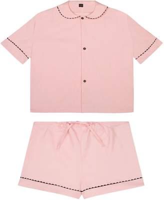 RAC Sarah Brown 100% Cotton Poplin Pyjamas In Pastel Pink With Black Contrasting Ric Trim