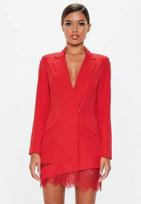 Missguided Red Lace Hem Blazer Dress