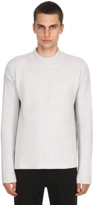 Wool & Cashmere Blend Rib Knit Sweater