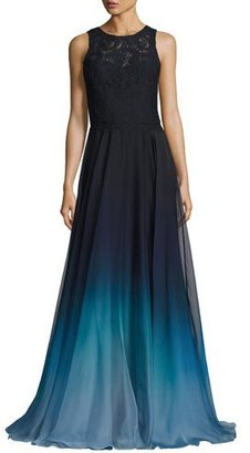 Theia Sleeveless Lace & Ombre Chiffon Gown, Blue $895 thestylecure.com