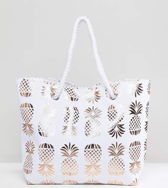 South Beach Rose Gold Pineapple Print Beach Bag