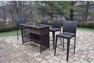 Darby Home Co Parishville 5 Piece All Weather Resin Wicker Bar Set