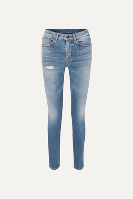 Saint Laurent Distressed Low-rise Skinny Jeans - Blue