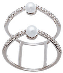 Lord & Taylor Double Strand Cubic Zirconia and Fresh Water Pearl Ring $70 thestylecure.com