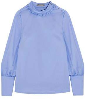 Lela Rose Ruffle-Trimmed Cotton-Poplin Blouse
