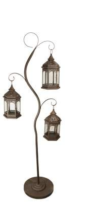 """Christmas Central 60"""" Rustic Brown Pillar Candle Holder Tree with 3 Decorative Lanterns"""